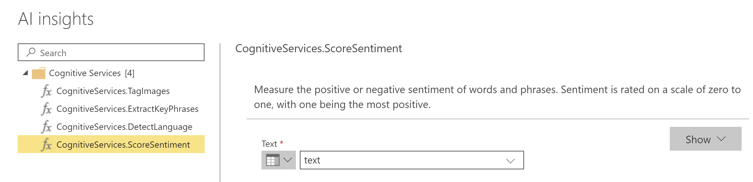 Power BI AI Insights - Score Sentiment