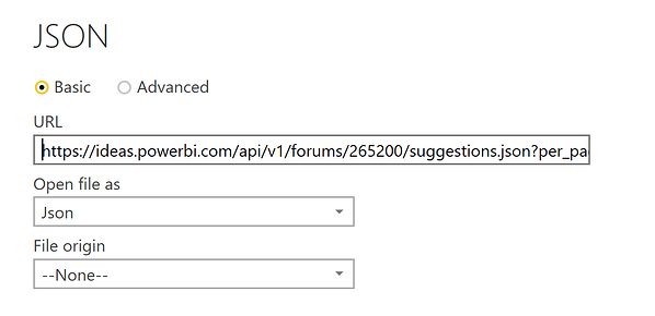 Power BI Import Web Data Using JSON Format