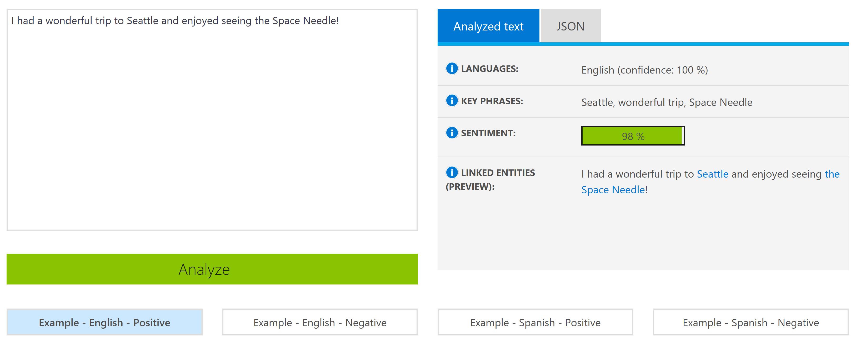Cognitive Services Text Analytics API Demo