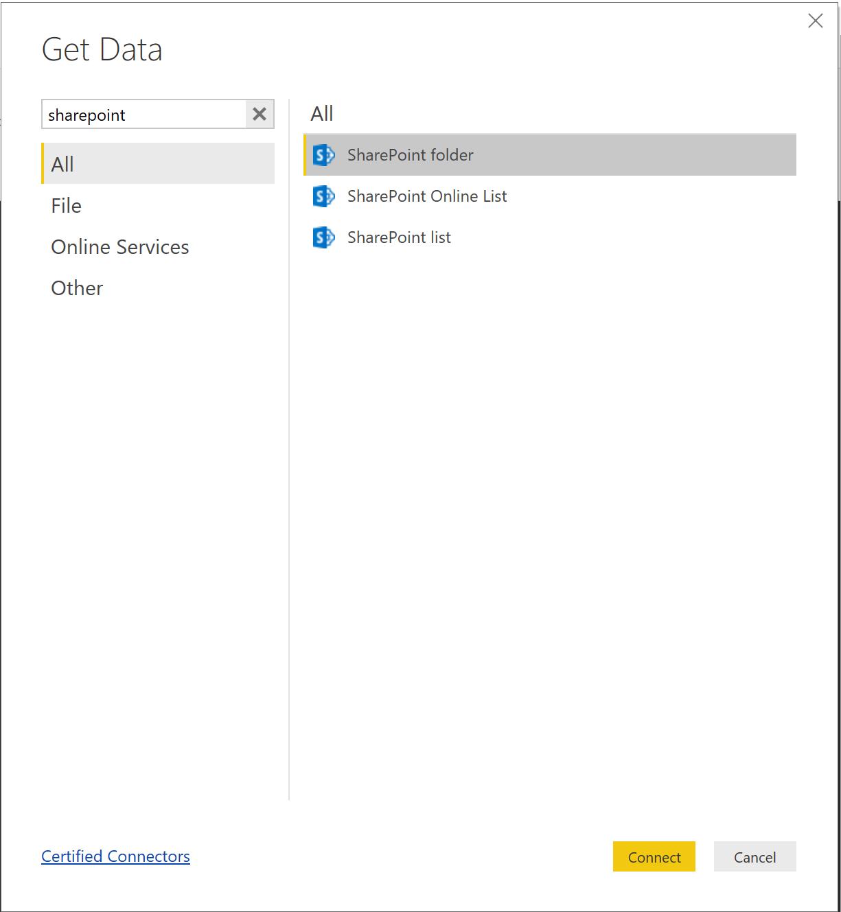 Get Data SharePoint Folder