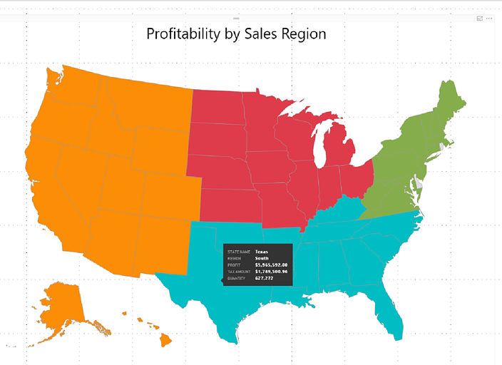 shape map example that shows a company s four sales territories across the us tooltips were added to provide key sales metrics about each state when you