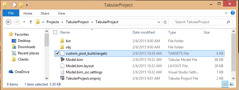 Copy the targets file to the project directory