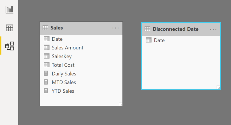 disconnected table power bi 4