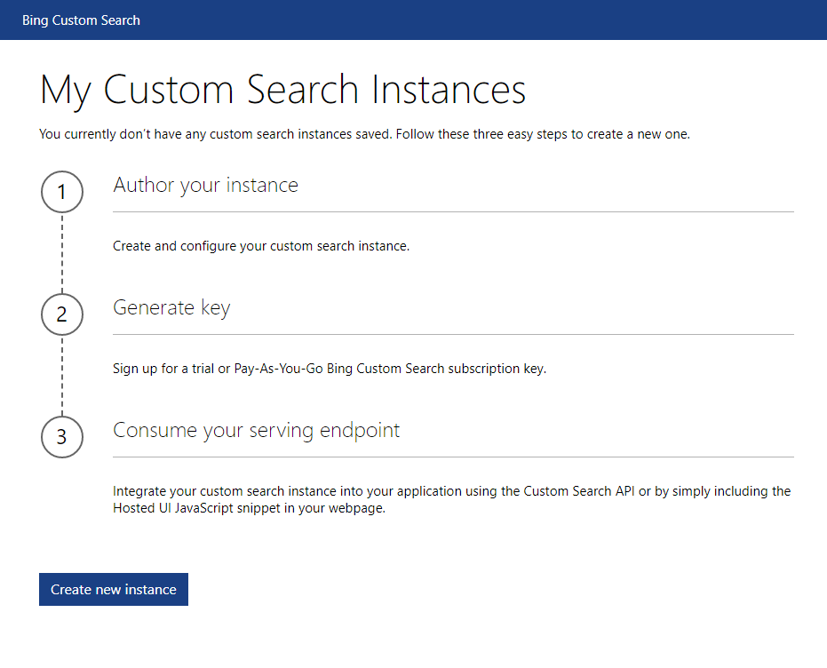 Custom Search Instances