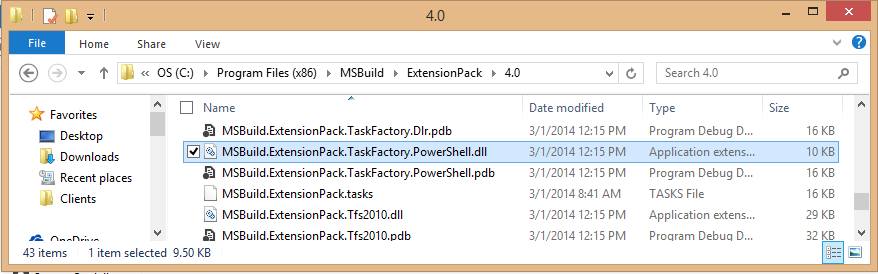 MS Build Extension Pack is Installed