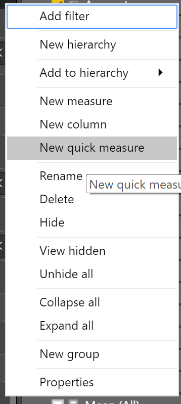 new quick measure